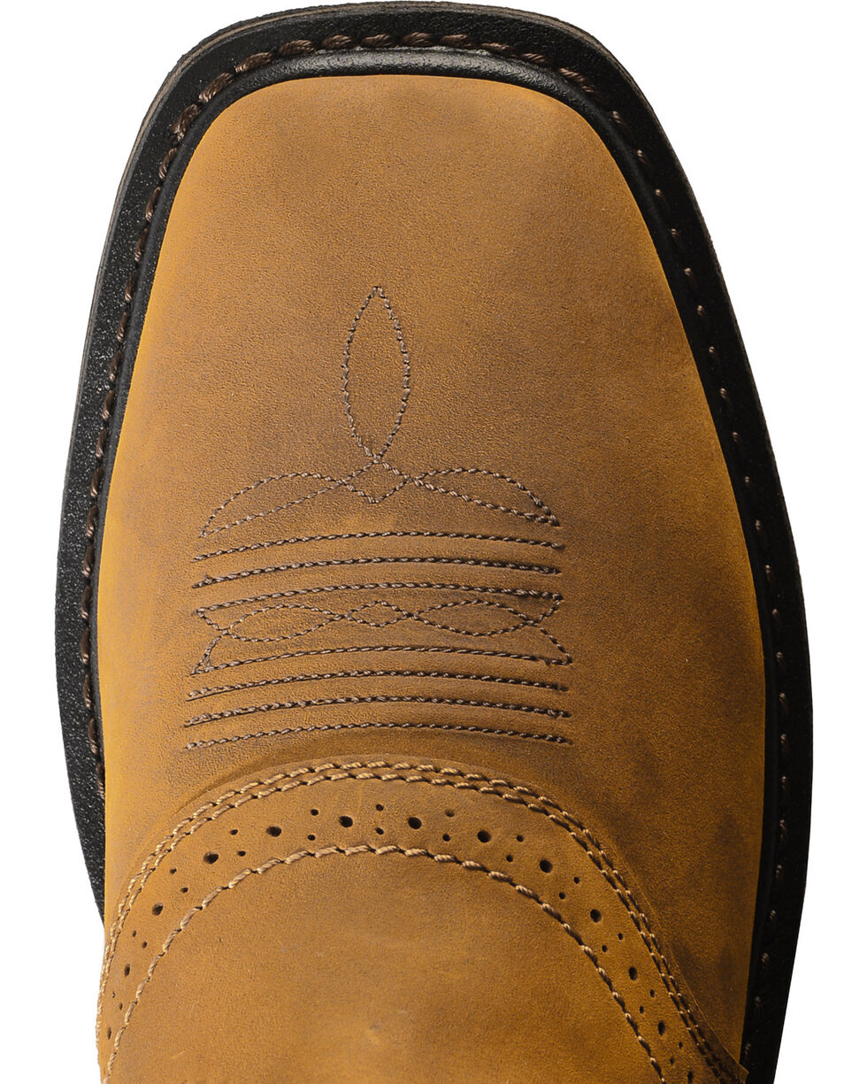 Ariat Sierra Pull-On Western Work Boots - Square Toe, Aged Bark, hi-res