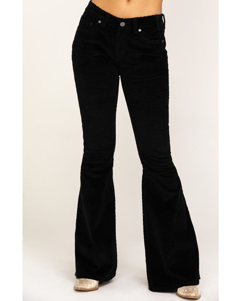 Rock & Roll Cowgirl Women's Black Corduroy Wide Flare Pants, Black, hi-res