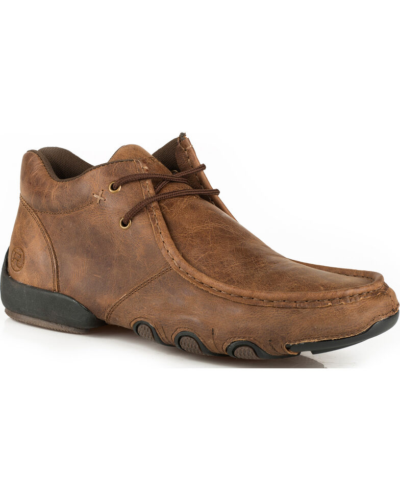 Roper Men's Brown Leather 2 Eye Lace Up Driving Shoes - Moc Toe, Brown, hi-res