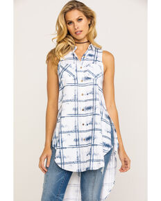 Shyanne Women's Washed Plaid Button Down Vest , Blue, hi-res