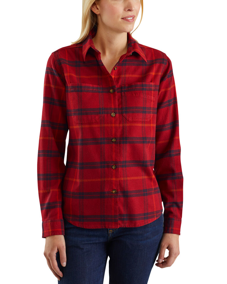 Carhartt Women's Rugged Flex Hamilton Flannel Work Shirt , Dark Red, hi-res
