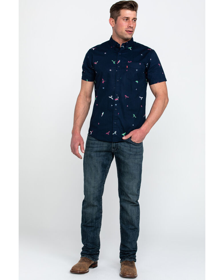 Levis Men's Rayberg Parrot Print Short Sleeve Western Shirt , Blue, hi-res