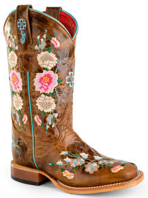 Anderson Bean Youth Girls' Honey Bunch Cowgirl Boots - Square Toe, Tan, hi-res