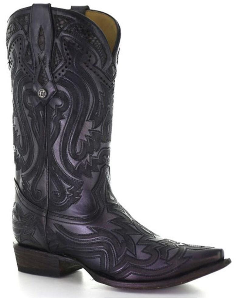 Corral Men's Exotic Python Skin Inlay Western Boots - Snip Toe, Black, hi-res