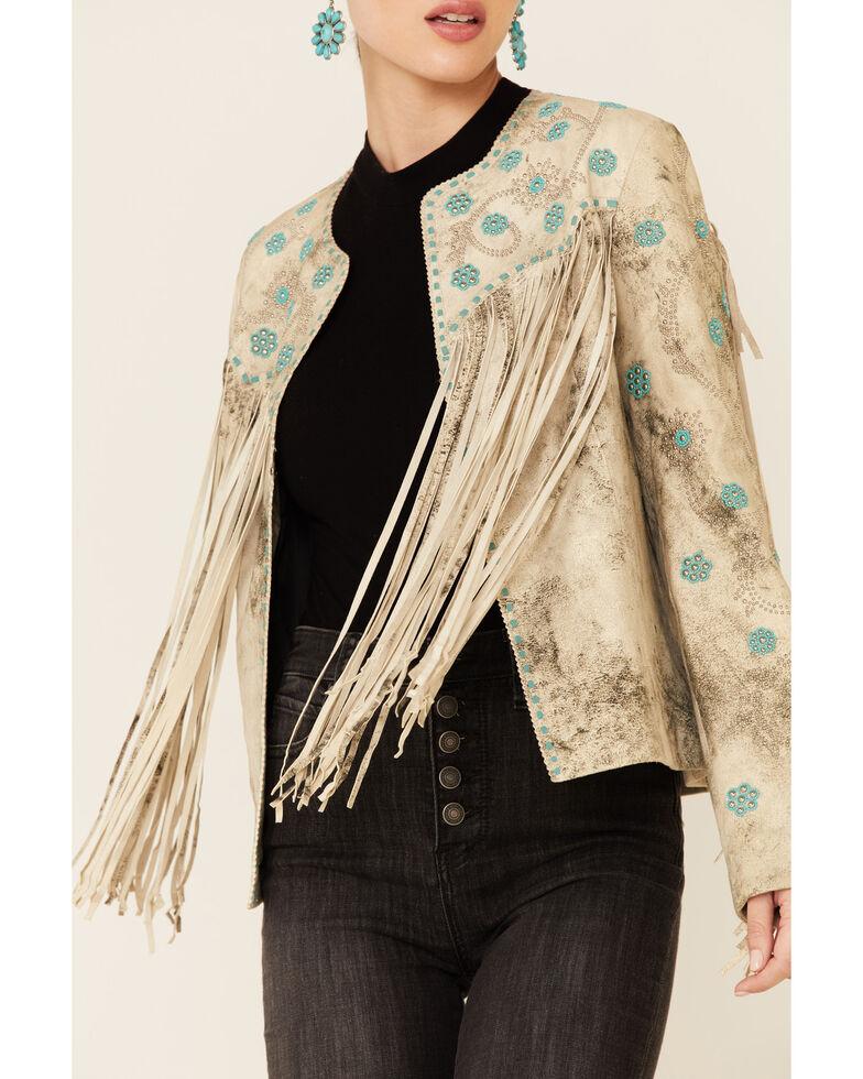 Scully Women's Vintage Cream Fringe Jacket , White, hi-res