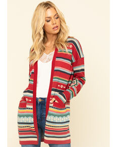 Tasha Polizzi Women's Red Calico Cardigan, Red, hi-res