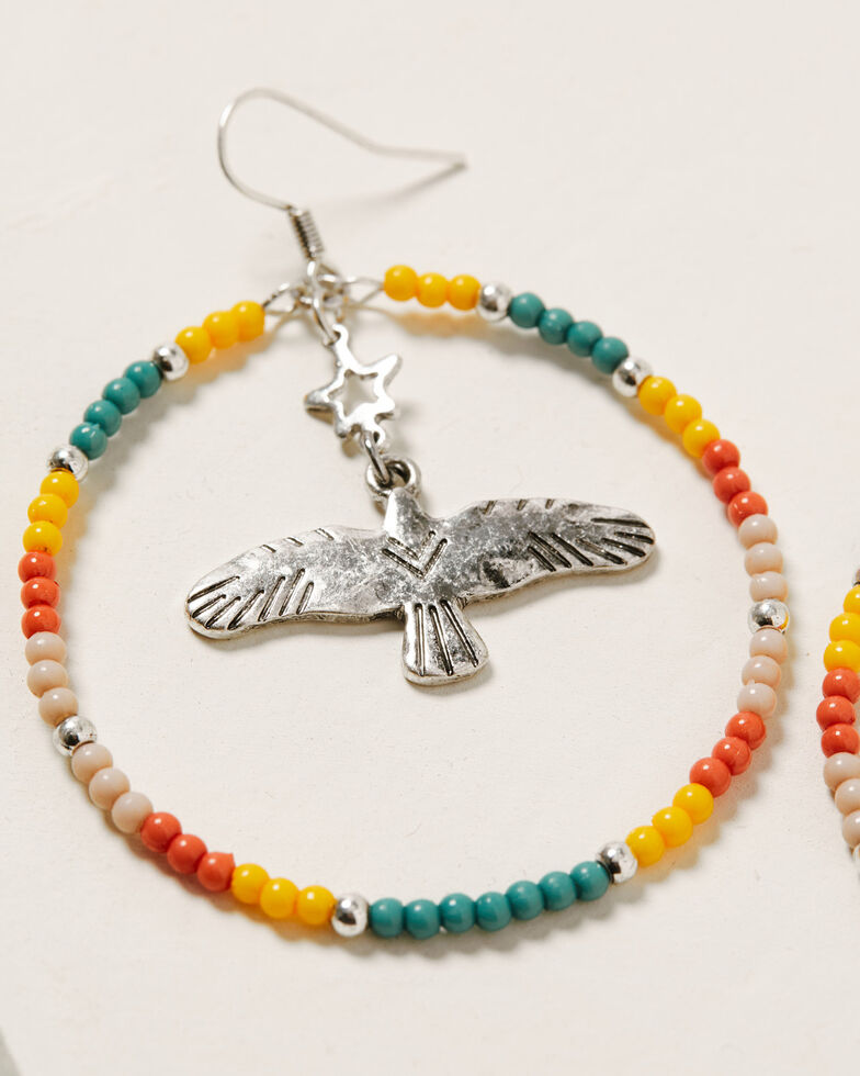 Idyllwind Women's Let's Fly Beaded Hoop Earrings, Multi, hi-res