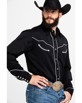 Roper Americana Collection Red, White and Blue Embroidered Skull Western Shirt, Black, hi-res