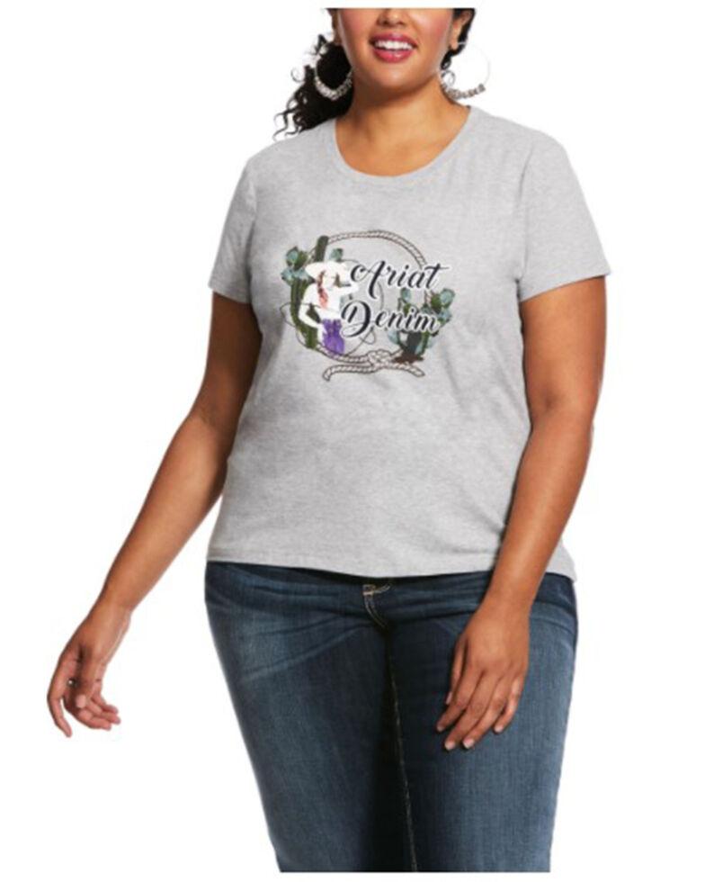 Ariat Women's Heather Grey Roped Frame Logo Graphic Tee - Plus , Heather Grey, hi-res
