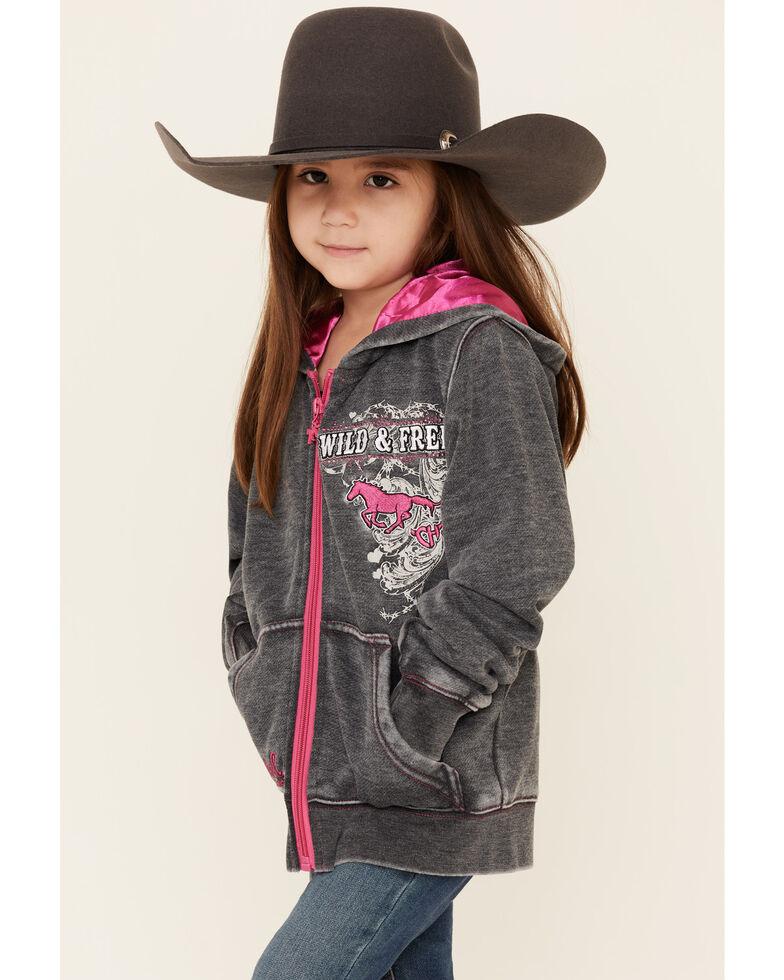 Cowgirl Hardware Girls' Charcoal Wild & Free Zip-Up Hooded Sweatshirt , Charcoal, hi-res