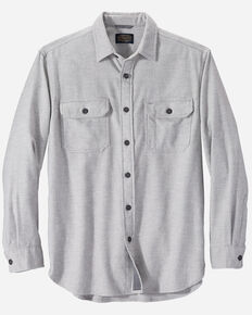 Pendleton Men's Light Grey Burnside Plaid Long Sleeve Western Flannel Shirt , Light Grey, hi-res