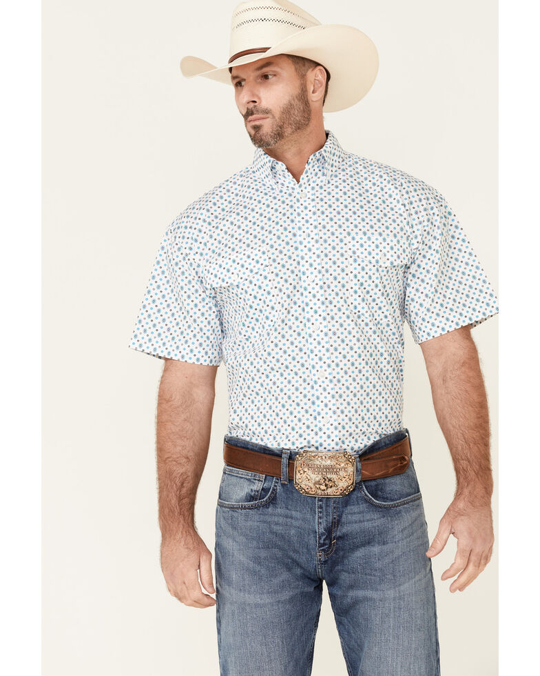 Panhandle Select Men's White Floral Geo Print Short Sleeve Button-Down Western Shirt , Blue, hi-res