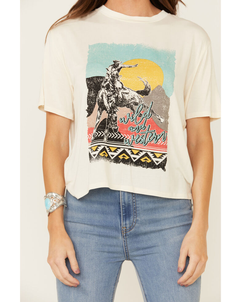Rock & Roll Denim Women's Neon Bronco Scene Graphic Tee , Ivory, hi-res