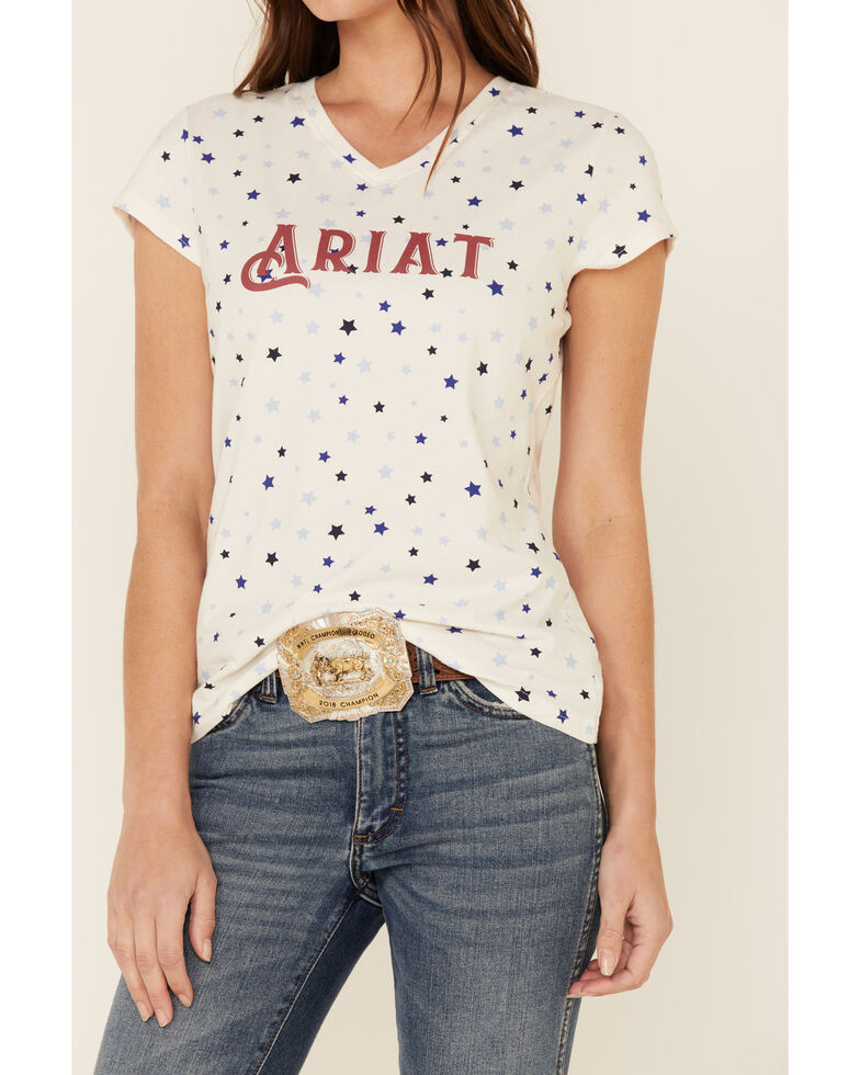 Ariat Women's R.E.A.L Bespangled Star Print Logo Short Sleeve Tee , White, hi-res