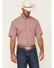 George Strait By Wrangler Men's Red Small Plaid Short Sleeve Button-Down Western Shirt , Red, hi-res