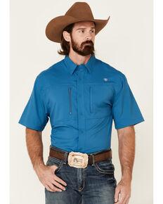 Ariat Men's Solid Teal Vent Tek Short Sleeve Button-Down Western Shirt - Big, Blue, hi-res