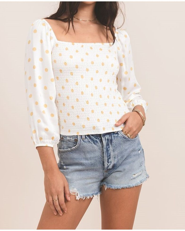 Others Follow Women's Polka Dot Smocked Alpha Peasant Top, Ivory, hi-res