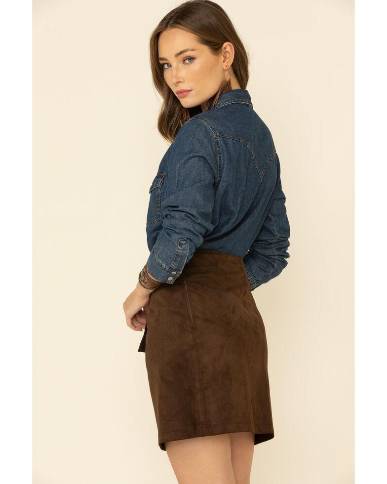 Molly Bracken Women's Suede Belted Skirt , Chocolate, hi-res