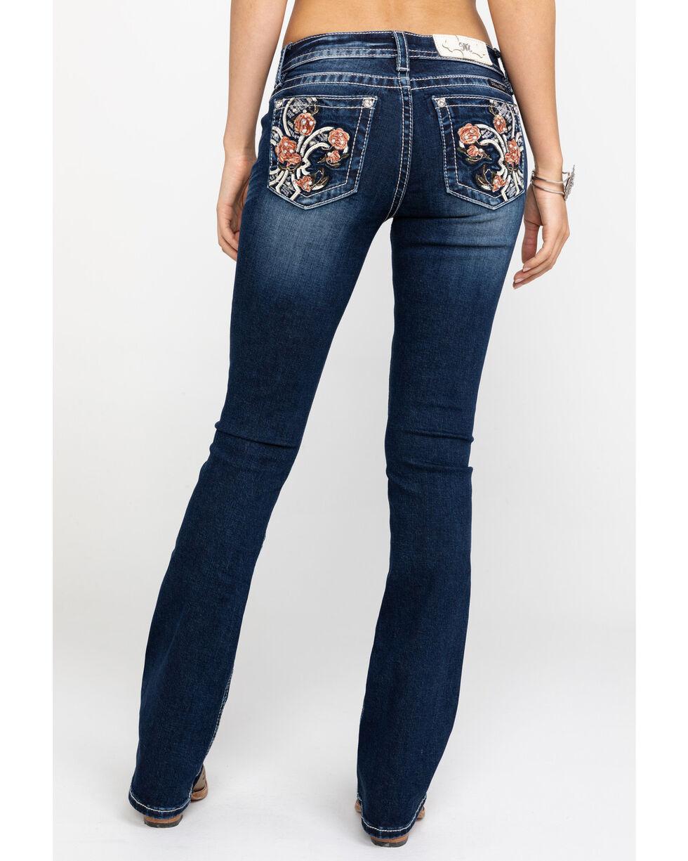 """Miss Me Women's Floral Fleur Dark Wash Bootcut 34"""" Jeans, Blue, hi-res"""