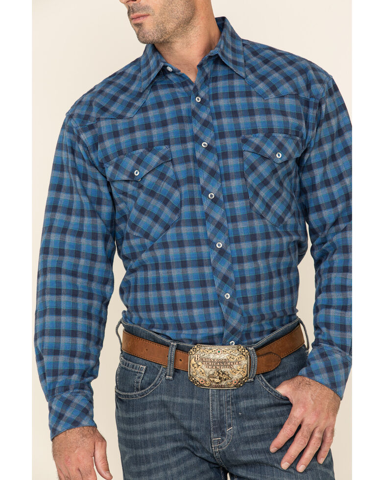 Resistol Men's Blue Alymer Check Plaid Long Sleeve Western Shirt , Blue, hi-res
