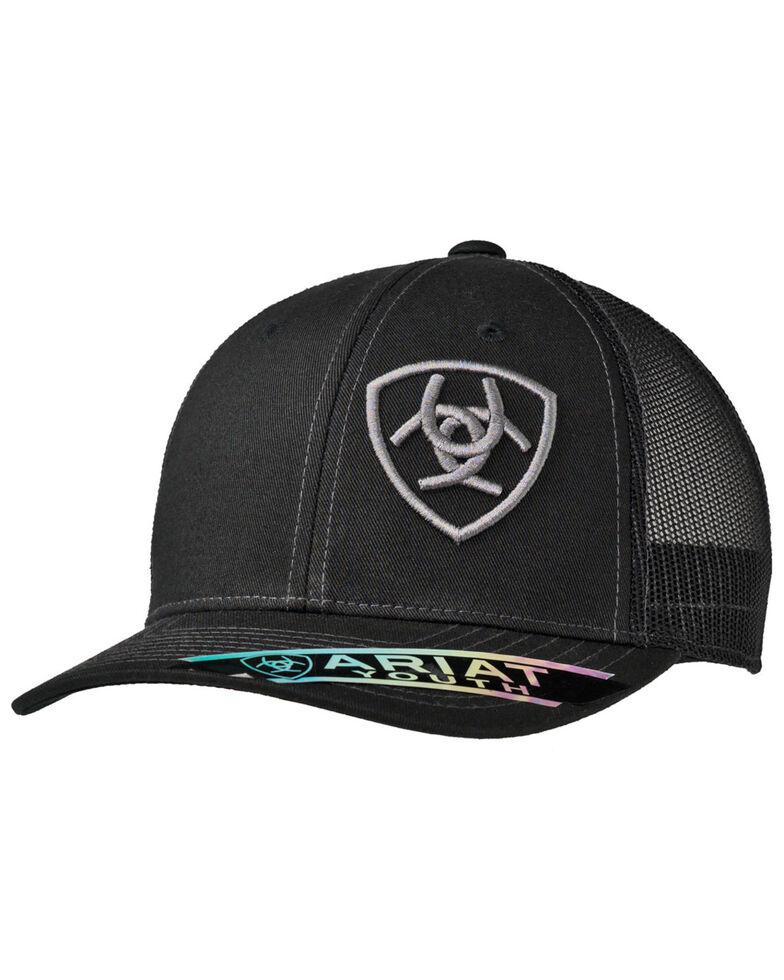 Ariat Boys' Black Logo Offset Mesh Ball Cap , Black, hi-res