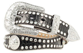 Blazin Roxx Scalloped Croc Print Leather Belt, Black, hi-res