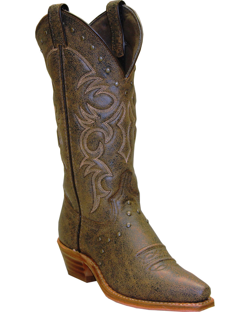 Abilene Boots Women's Vintage Nailhead Cowgirl Boots - Snip Toe, Tan, hi-res