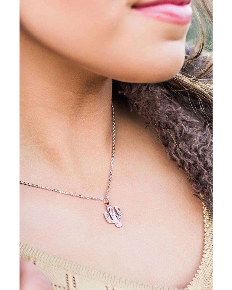 Montana Silversmiths Women's Desert Darling Rose Cactus Pendant Necklace, Silver, hi-res