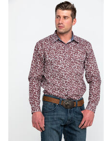 Cody James Men's Oxdale Paisley Print Long Sleeve Western Shirt , Burgundy, hi-res