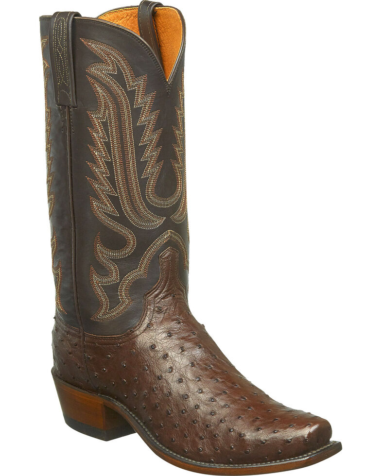 Lucchese Men's Handmade Luke Full Quill Ostrich Western Boots - Snip Toe, Brown, hi-res