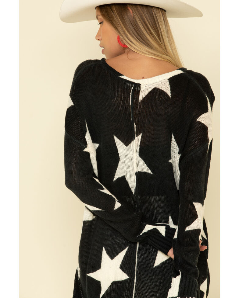 Elan Women's Star Print Hi-Low V-Neck Sweater , , hi-res