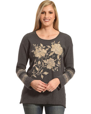 Johnny Was Women's Magdalene Thermal Shirt , Charcoal, hi-res