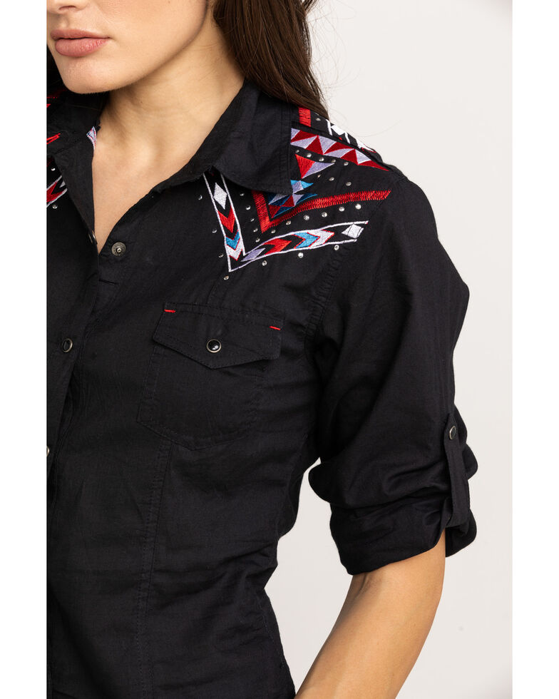 White Label by Panhandle Women's Geometric Embroidered Long Sleeve Shirt, Black, hi-res
