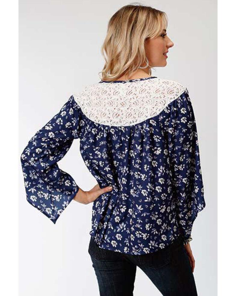 Studio West Women's Steel Magnolias Print Lace Yoke Blouse, Blue, hi-res
