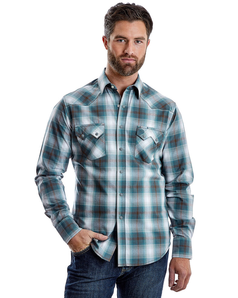 Wrangler Retro Men's Teal Plaid Long Sleeve Western Shirt , Teal, hi-res