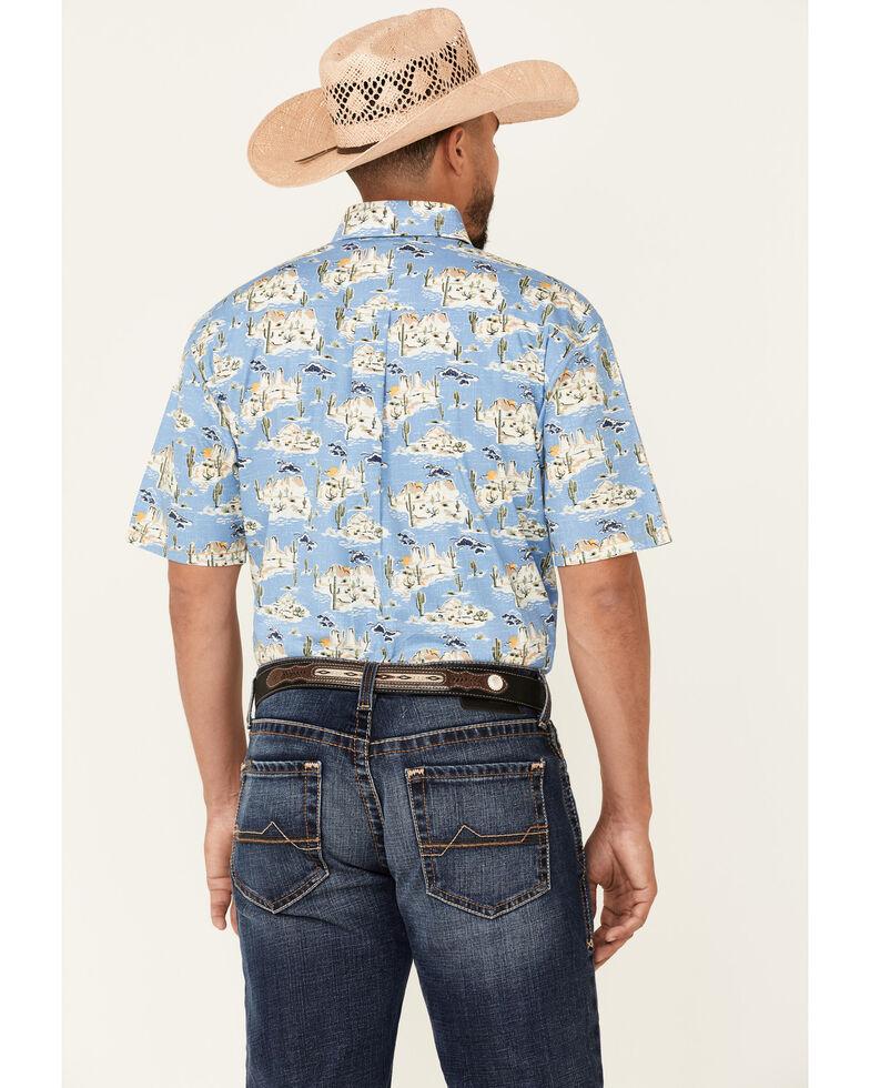 Rough Stock By Panhandle Men's Desert Print Short Sleeve Button-Down Western Shirt , Blue, hi-res