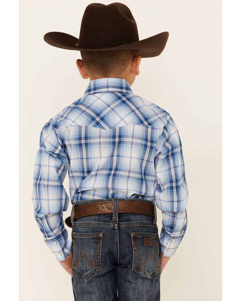 Ely Walker Boys' Blue Plaid Long Sleeve Snap Western Shirt , Blue, hi-res