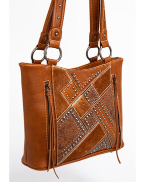 Shyanne Women's Tooled Hair-On Calf Patchwork Concealed Handgun Tote Bag, Brown, hi-res