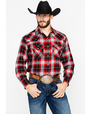 Ely Cattleman Men's 4.5 Oz.Plaid Long Sleeve Western Shirt, Red, hi-res