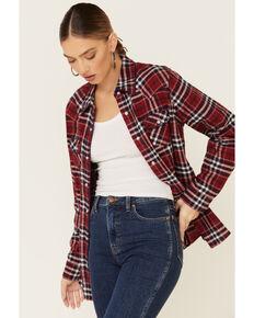 Nikki Erin Women's Whipstitch Plaid Long Sleeve Western Flannel Shirt , Red, hi-res