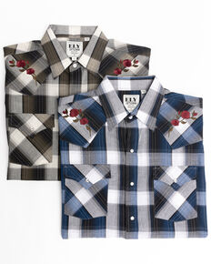 Ely Walker Men's Assorted Embroidered Multi Large Plaid Long Sleeve Western Shirt , Multi, hi-res