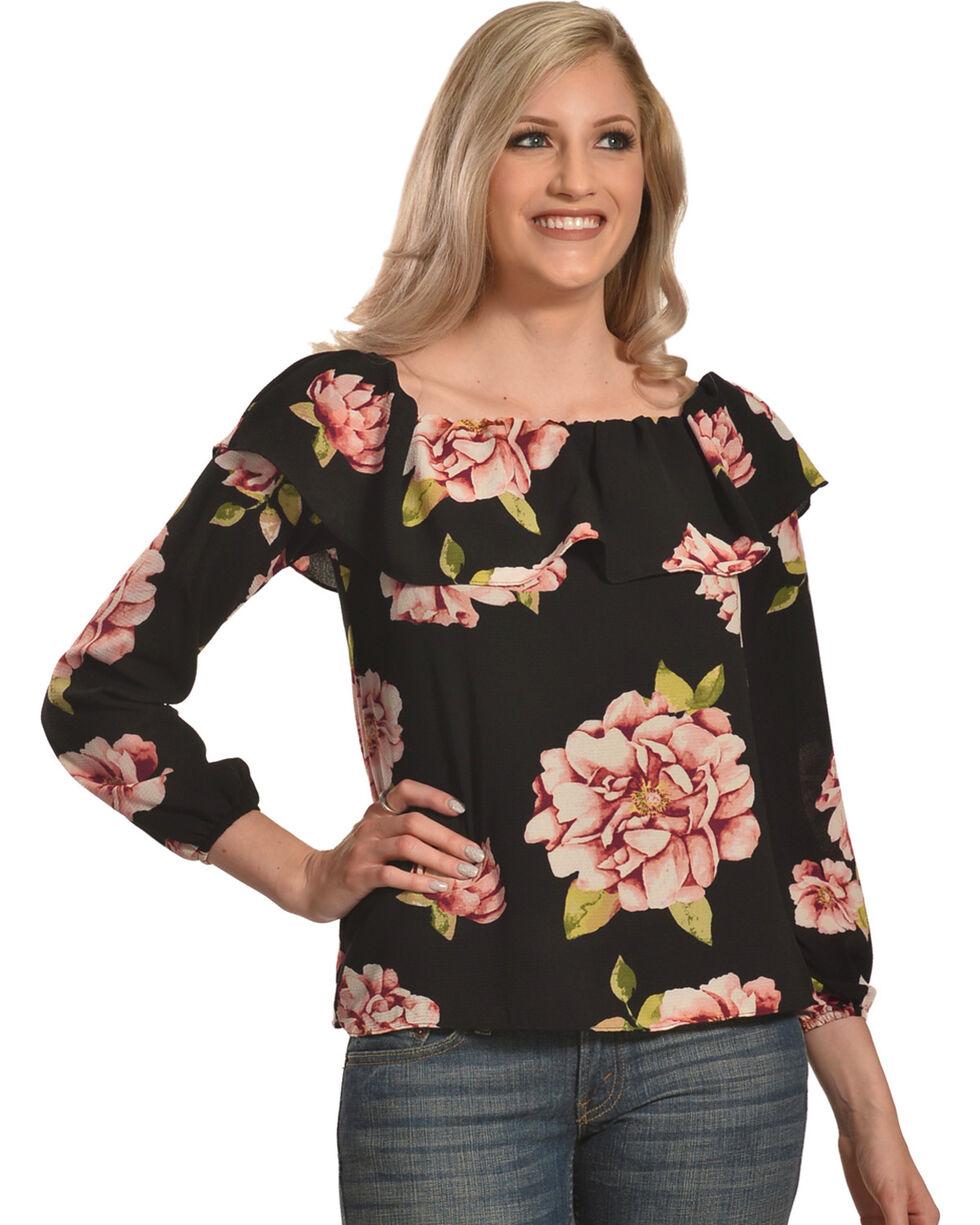 Moa Moa Women's Floral Off The Shoulder Long Sleeve Top, Black, hi-res