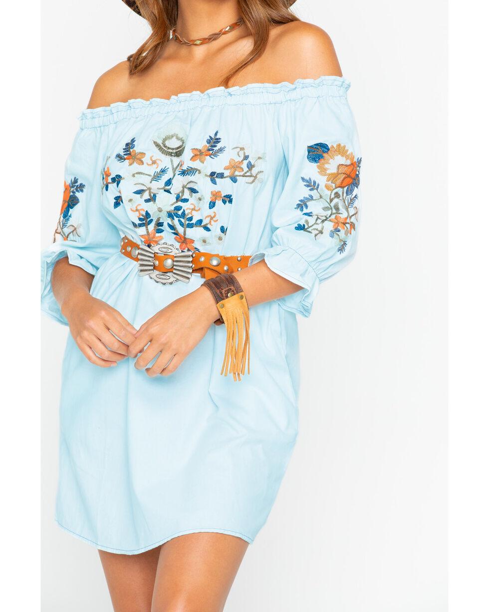 Sadie and Sage Women's Florita Embroidered Off Shoulder Dress , Indigo, hi-res