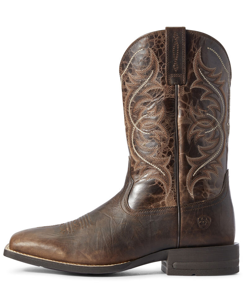 Ariat Men's Canteen Coffee Western Boots - Wide Square Toe, Brown, hi-res