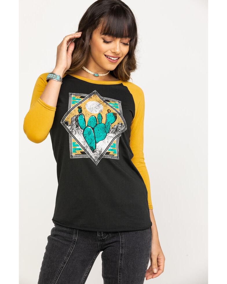Rock & Roll Denim Women's Black Cactus Baseball Tee, Dark Yellow, hi-res
