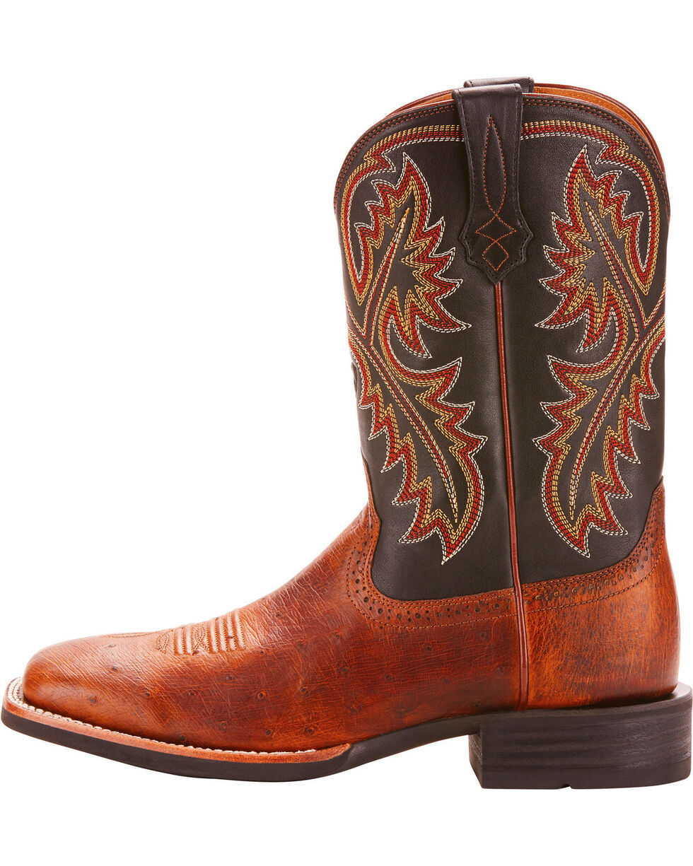 Ariat Men's Quickdraw Smooth Quill Ostrich Cowboy Boots - Square Toe, Brown, hi-res