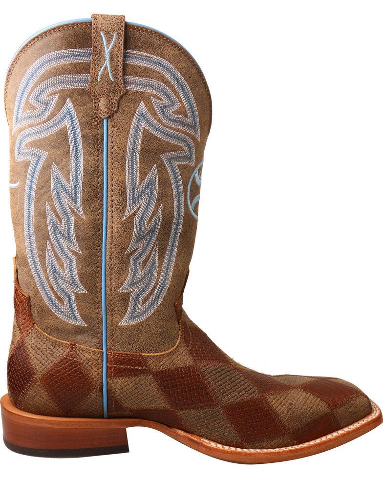 Twisted X Men's Hooey Diamond Basketweave Cowboy Boots - Square Toe, Brown, hi-res