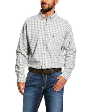 Ariat Men's FR Atlas Check Plaid Long Sleeve Work Shirt - Tall , Grey, hi-res