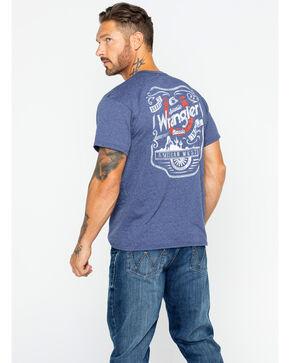 Wrangler Men's Denim Heather Horseshoe Logo Tee , Blue, hi-res