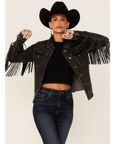 Rock & Roll Denim Women's Black Wash Studded Leather Fringe Button-Down Denim Jacket , Black, hi-res